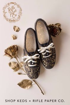A wearable work of art. Keds' popular Kickstart tennis shoe gets an artistic twist thanks to Rifle Paper Co.'s signature Queen Anne floral print. This easy neutral is sure to pair perfectly with every jean in your closet, and goes nicely with more dressy pieces, too. Shop these and the rest of the Rifle Paper Co. collection at keds.com.