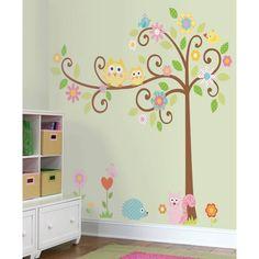 Meubel, Wand-, decoratiestickers. Uil, eekhoorn vlinders uit het bos met super grote boom. SUPER GROTE decoratie set babykamer stickers