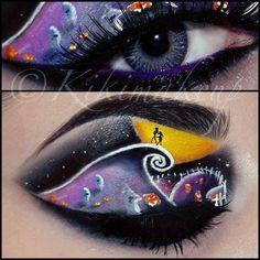 Such an awesome makeup art jack skellington eye idea Eye Makeup Art, Blue Eye Makeup, Eye Art, Holiday Makeup, Christmas Makeup, Halloween Face Makeup, Shadow Art, Creative Makeup, Unique Makeup