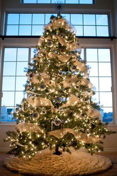Burlap tree skirt tutorial, stockings, wreath