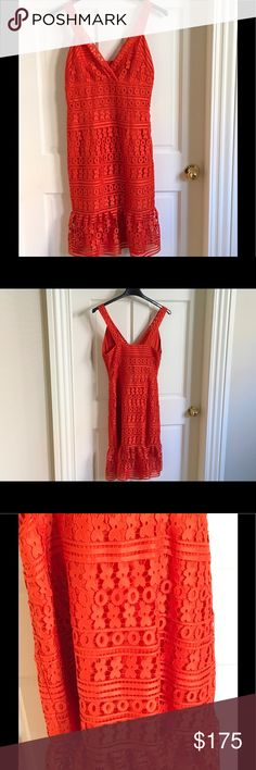 """NWT Diane Von Furstenberg Lace Dress Diane Von Furstenberg orange intricate lace party dress. New with Tags! Size 10. Lined. Side zip. Polyester shell.  High point shoulder measurement is 41"""". You can dress it up with heels or down with flat sandals. Feel free to contact me with further questions! Diane von Furstenberg Dresses"""