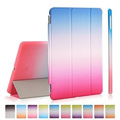 iPad Air Case, iPad Air Cover, DEENOR Rainbow Colour Series Smart Cover Transparent Back Cover Ultra Slim Light Weight Auto Wake up/Sleep Function Protective Case Cover for Apple iPad Air iPad 5 Generation. (Green and pink)