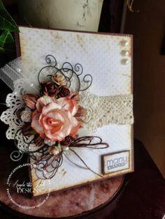 angela holt card many thanks shabby flower