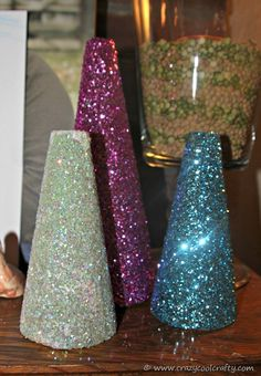 Mod Podge Glitter Trees | CrazyCoolCrafty