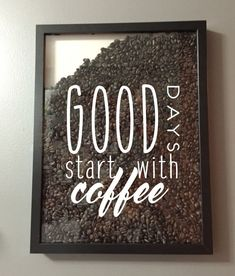 Good Days Start with Coffee Vinyl Sticker Decal / Sticker - Shadow boxes and more - Wall Quote by AmberRockstar on Etsy