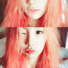 Taeyeon Reveals Her Alluring Watermelon-Colored Hair on Instagram ❤ liked on Polyvore featuring hair