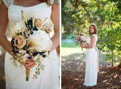 navy beige tan white wedding bouquet outdoor wedding vintage inspired