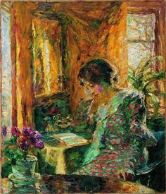 Emil Nolde (1867-1956) Spring in the Room (1904)  The model is Nolde's wife Ada, reading.