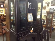China Cabinet - contemporary style.  Can be used as a wine and liquor cabinet.  Item 1231-3. Price $600.00    - http://takeitorleaveit.co/2016/07/11/china-cabinet-5/