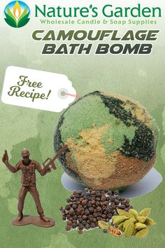 Free Camouflage Bath Bomb Recipe by Natures Garden.
