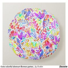 Cute colorful abstract flowers patterns round pillow
