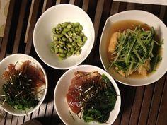 カツオ丼&厚揚げと水菜の煮物