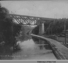 N.Y.C.R.R. Bridge, Lockport, NY [front caption] (1front) [e0182ac1] :: Queens College, Waterways of New York
