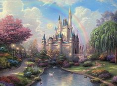 Thomas Kinkade Landscape Painting Prints on Canvas Wall Art Picture for Living Room Home Decorations Framed Ready to Hang Disney Kunst, Arte Disney, Disney Art, Thomas Kinkade Disney, Background For Photography, Photography Backdrops, Kinkade Paintings, Castle Painting, Fantasy Princess