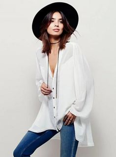 #Oasap - #oasap V Neck Long Sleeve Button down High Low Loose Shirt - AdoreWe.com