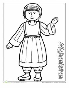 Coloring sheets of children from around the world in traditional clothing. This page is of a girl from Afghanistan in traditional dress