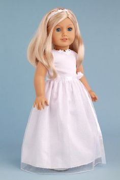 My First Communion - Clothes for 18 inch Doll - White Satin Dress ...