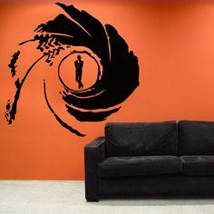 "James Bond Bullseye Wall Decal 48"" x 48"" Black"