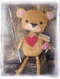 Primitive Bear, Valentine Gift, Teddy Bear, Brown Bear, Primitive Valentine Decor, Folk Art Doll, OFG FAAP