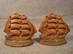Vintage Constitution SHIP Boat Book Ends | eBay