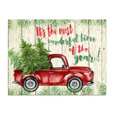 christmas wall art decor printable its the most wonderful time of the year sign watercolor christmas tree rustic christmas art red truck