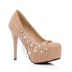 Party Womens Pumps With PU Leather Tassels Rhinestone Design
