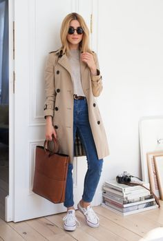 trench coat outfit – Look of The Day (Make Life Easier) – Trench Coat Outfit, Burberry Trench Coat, Trench Coats, Trench Coat Women, Trench Coat Style, Outfits With Converse, Casual Outfits, Moda Outfits, Look Blazer