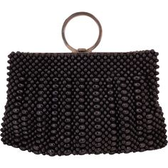 Vintage Art Deco Black Wood Beaded ring  Purse With Chrome Frame from That Purse Place at RubyLane.com