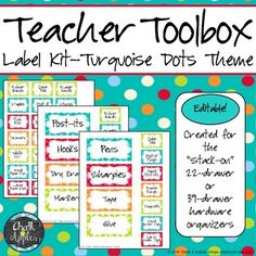 A full set of editable labels for the Teacher Toolbox that has been circulating on Pinterest.These are for the 22- or 39-drawer organizer. *Updated 8/14/13: By request, I have added a page of only small labels for those using the 39-drawer organizer!These labels are ready to print with my suggested items or fill in with items you want to keep in your toolbox.