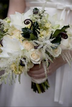 white winter wedding bouquets Inspiration: Winter Wedding Flowers -- what are those white flowers?! Love the touch if whimsy they bring to the bouquet!