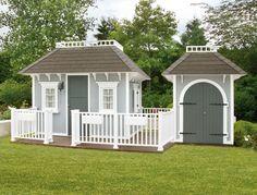 Gran Victorian Cottage mit Garage / grau weiß / große Veranda