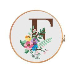 Beautiful botanical letter «F Monogram Cross Stitch, Cross Stitch Alphabet, Blackwork Embroidery, Cross Stitch Embroidery, Letter F, Letter Patterns, Personalized Wedding, Needlepoint, Etsy Shop