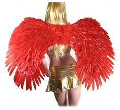 SACAS Super Large Red Feather Angel wings w FREE HALO for men women and adults