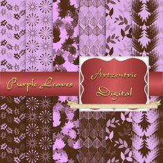 """Purple and Brown Leaf Design Digital Paper, 12 Sheets 12"""" x 12"""" .jpg, 300 dpi"""