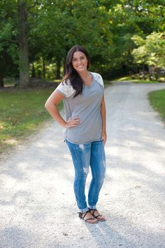 Lace Sleeve Top - Gray - Trendy Ragz Boutique