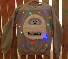 Ugly Christmas Sweater LIGHTS UP! - Sweatshirt - Abominable Snowman - Light Up Christmas Sweater - Christmas Jumper -**Fast Shipping* Light Up Christmas Sweater, Christmas Fun, Holiday Fun, Christmas Sweaters, Christmas Outfits, Christmas Things, Christmas Costumes, Holiday Ideas, Christmas Ornaments