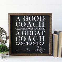 Coach Gift, Gift for coach, a great coach, football, baseball, cheerleading, soccer, sports gift, Gift idea, wood signs, wooden sign, black and white, rustic signs, office decor, office
