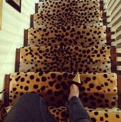 leopard print stair runner - if I only had stairs. Home Design, Home Interior, Interior And Exterior, Home Goods Decor, Home Decor, Elements Of Style, Stairways, Animal Print Rug, Cheetah Print