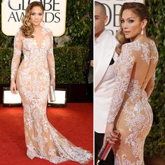 Jennifer Lopez | Golden Globes 2013 in Zuhair Murad ~ Love the sultry elegance of this dress.  She has come a long way from her scarf dress.