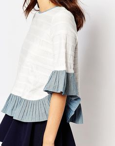 Image 3 of I Love Friday Top With Chambray Frill Hems In Textured Stripe