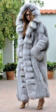 Platinum fox long fur coat hood class- chinchilla sable jacket mink silver