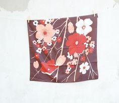 VINTAGE hippie 1970's mod flower brown white scarf - vintage pin up headband vintage hippie fashion accessories -flower poppies soviet scarf