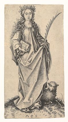 St. Agnes by Martin Schongauer (German, Colmar ca. 1435/50–1491 Breisach) // Today @Episcopal Church remembers Agnes of Rome, Martyr (21 Jan 304)