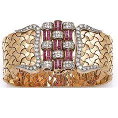 "42 Me gusta, 1 comentarios - @diamondgirl1975 en Instagram: ""A retro #ruby and #diamond #gold bracelet, circa 1940. So glamorous! ❤️ #vintage #jewelry…"""