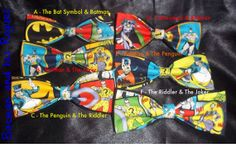 BowTies Made From DC Comics Fabric - Take Your Pick From 6 Great Looking Batman Bow Ties, Choose Your Favorite Rogue -U.S.SHIPPlNG ONLY 1.49