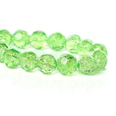 8mm Faceted PASTEL GREEN Crackle Glass Beads, double strand, over 100 beads  bgl1116 by SmartParts on Etsy