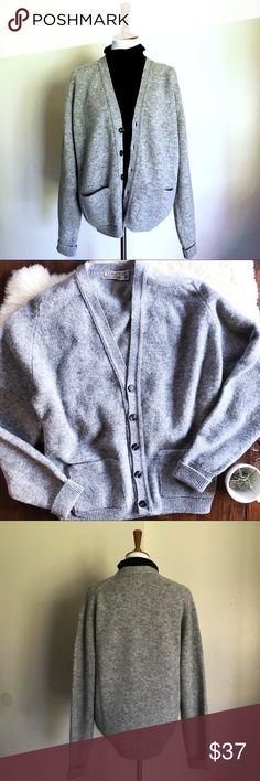 Vintage Wool Grandpa Cardigan Cool-gray all Wool V neck Cardigan. It's a men's large, but would work for anyone wanting an over large cardigan. (Displayed on a women's size 4 mannequin). There is a hole on top of the left shoulder. Otherwise perfect. L.L. Bean Sweaters Cardigan
