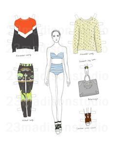 Printable Styling Paper doll DIY for adult PDF file. $5.00, via Etsy.