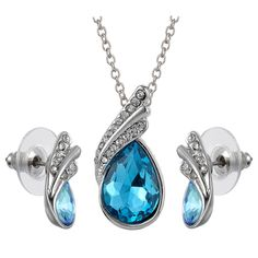 Wedding Lady Jewelry Set Pear Cut Rhinestone Crystal Earrings Pendant Necklace