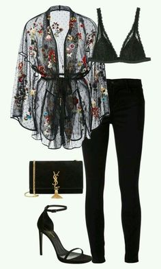 Fashion Outfits Fashion pants Fashion outfits Lace kimono Going out outfits - Luxury black outfit Classy and cute - Winter Going Out Outfits, Classy Going Out Outfits, Classy Outfits, Chic Outfits, Fall Outfits, Fashion Outfits, Womens Fashion, Fashion Ideas, Latest Fashion